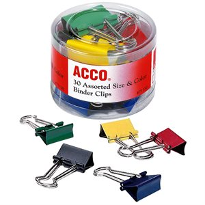 Pinces relieueses de formats et couleurs variés pqt de 30