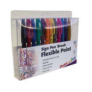 Stylo Pentel - Flexible Point - 12 brush pens